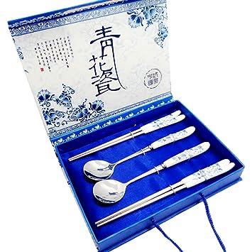 Set de Cubiertos de Acero Inoxidable Estilo Chino vajilla de Porcelana Azul y Blanca del Viaje de Camping Cubiertos Vajillas Herramientas 4 PC/Regalo ...