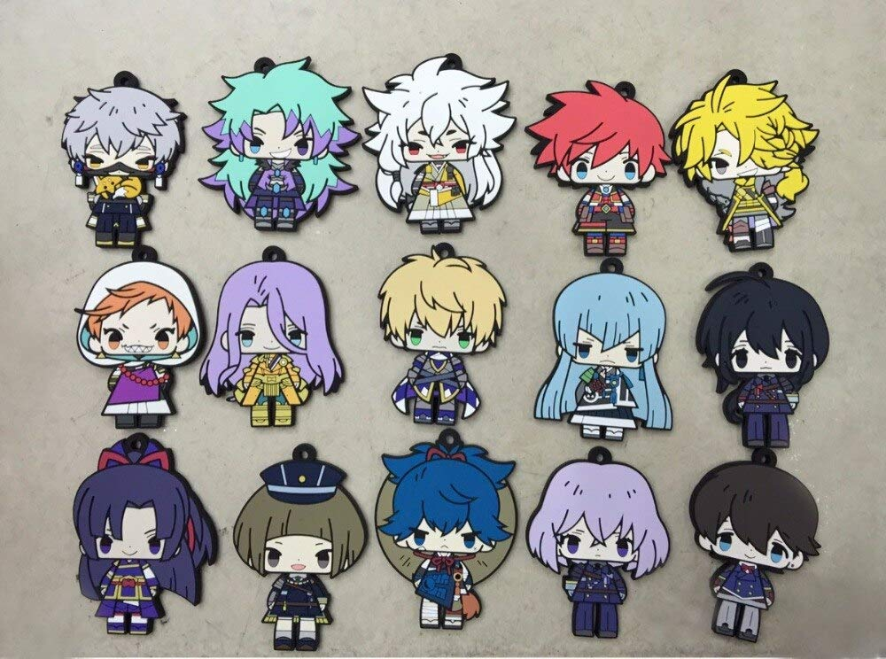Fallhuoz 15pcs/lot Toukenu Online Original Japanese Anime Figure Rubber Silicone Sweet Smell Mobile Phone Charms Strap G404