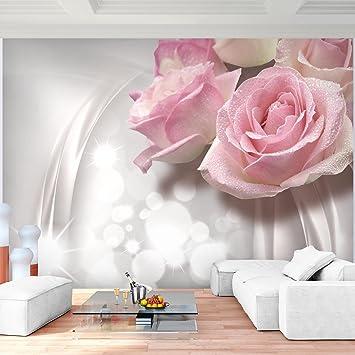 Fototapeten blumen 3d rose grau 352 x 250 cm vlies wand tapete wohnzimmer schlafzimmer büro flur