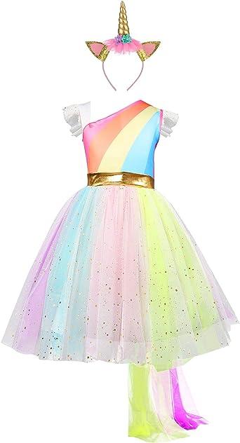 Vestido De Unicornio Para Niña De 4 5 6 7 8 Años Vestidos Cumpleaños Birthday