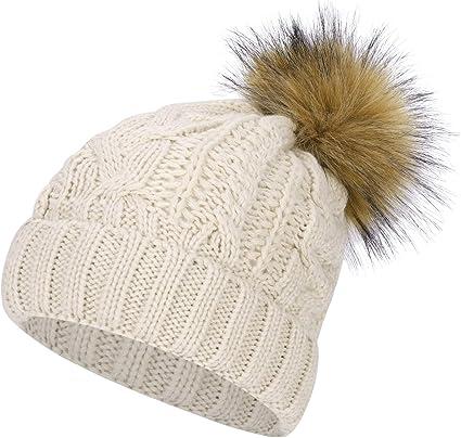 bonnet femme tricot fourrure
