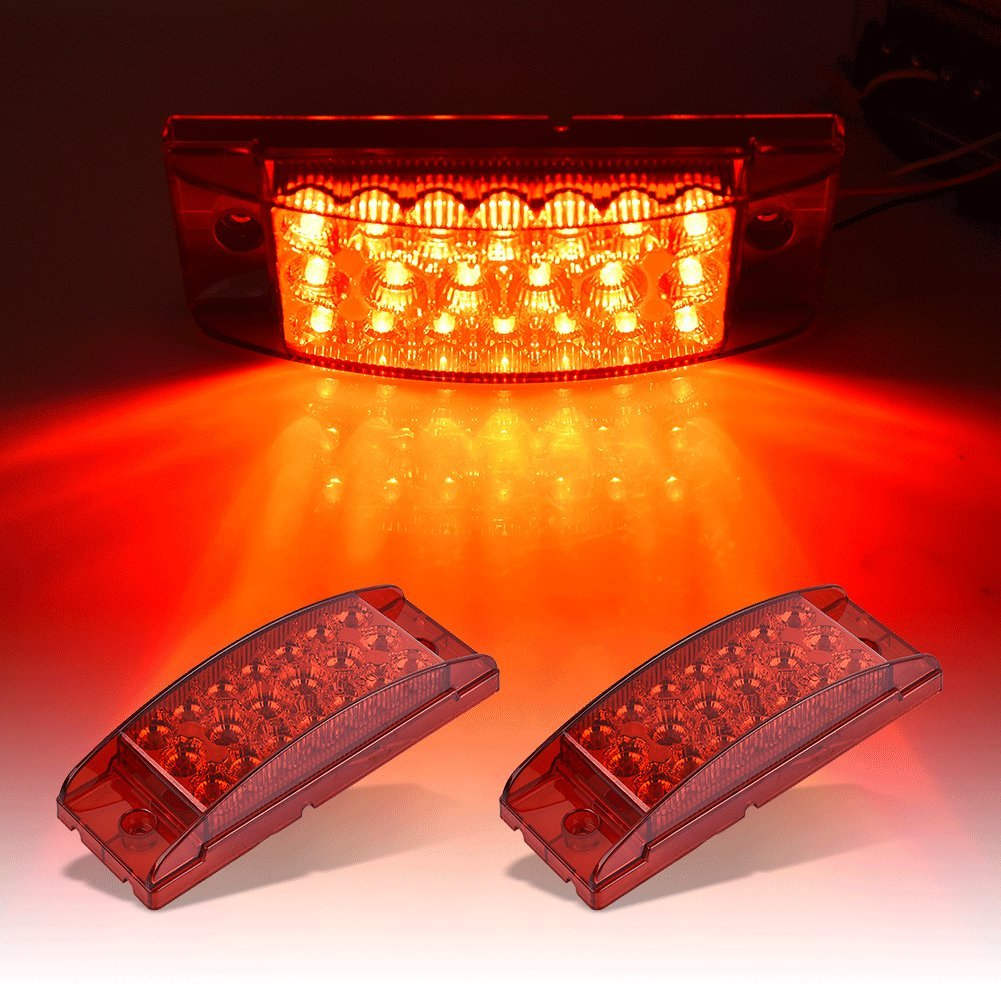 Catinbow 2Pcs 6x2 Inch Side Marker Light Red 20 LED Rectangle Fender Marker Light Turn Signal Light High Low Brightness Marker Light