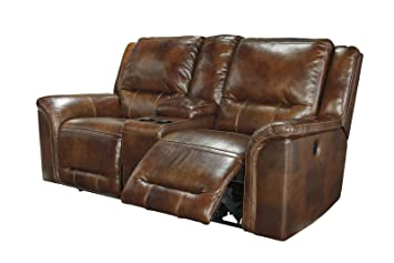 reclining loveseat with console twotone faux leather