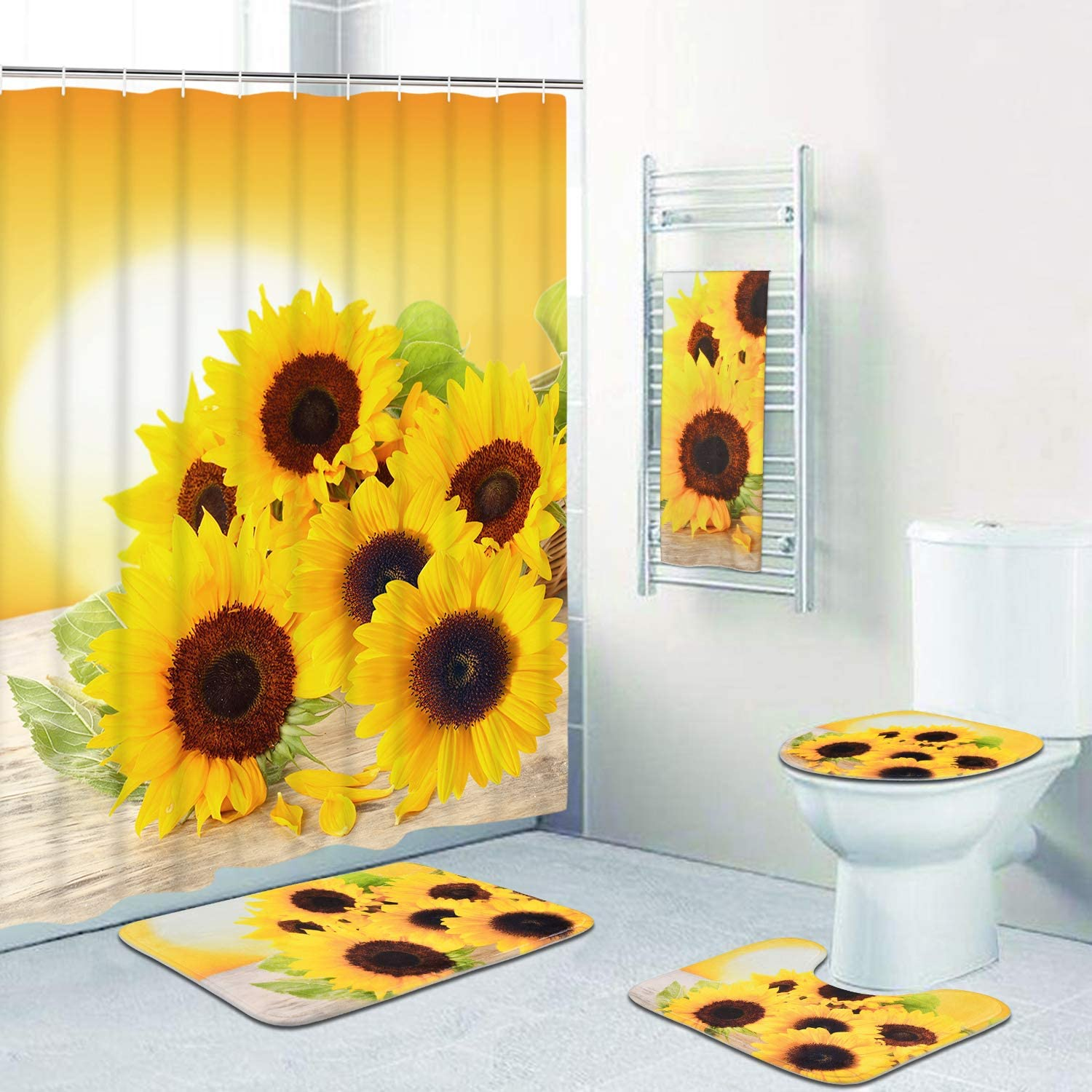 Bath Mat and 12 Hooks Flower in The Sunset Shower Curtain Waterproof Bath Curtain Toilet Lid Cover Include Non-Slip Rug Pknoclan 5 Pcs Sunflowers Shower Curtain Sets with Rugs and Towels