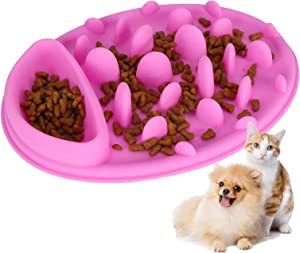 Zerodis Pet Slow Feeder, Pink Silicone Cat Dog Anti Choking Bowl Non-Slip Healthy Eating Diet Water Feeding for Pet Dog Cat