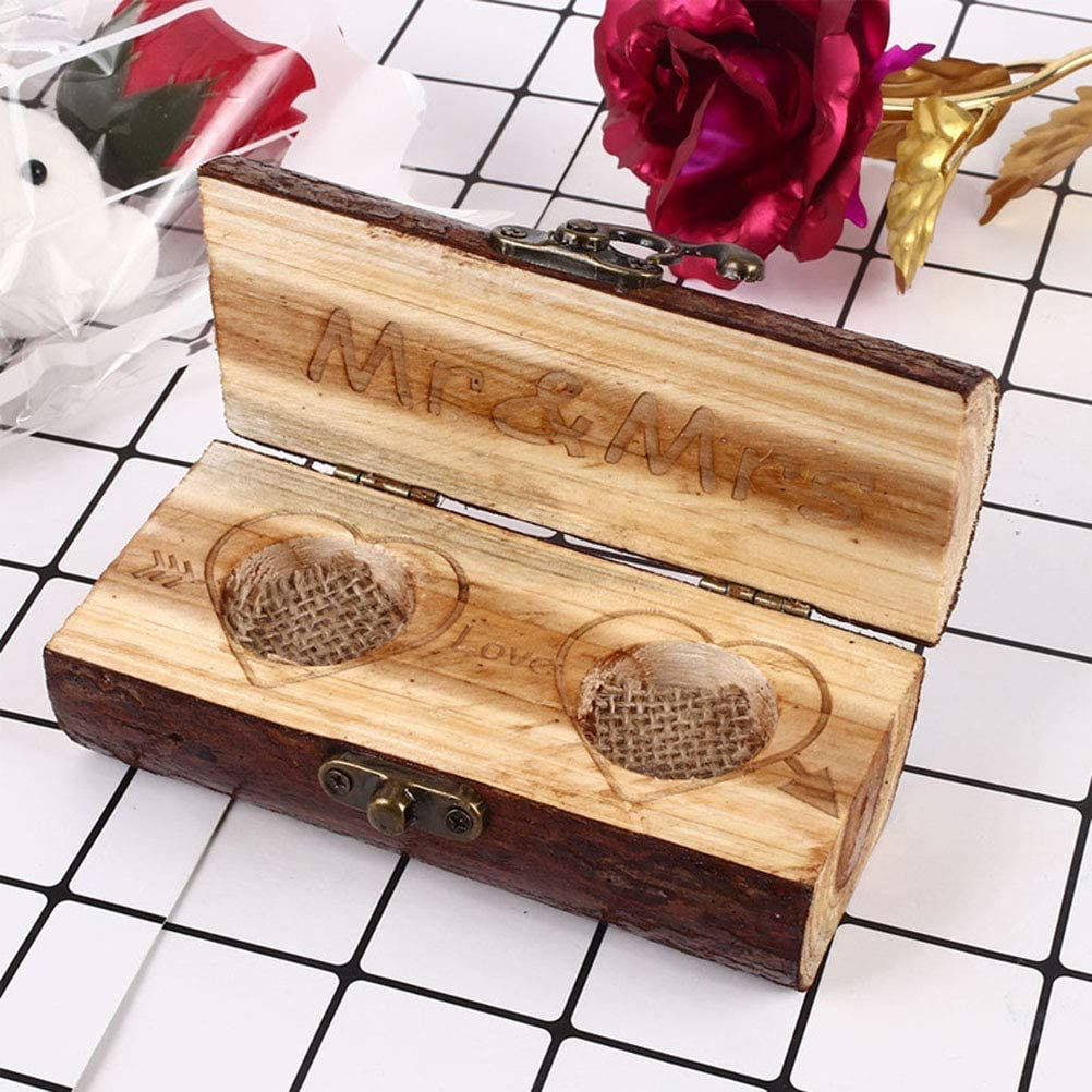 BovoYa - Caja de madera para anillos de boda, diseño retro, con ...