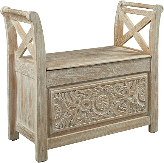 Signature Design by Ashley – Fossil Ridge Accent Bench – Carved Floral Pattern – Antique White
