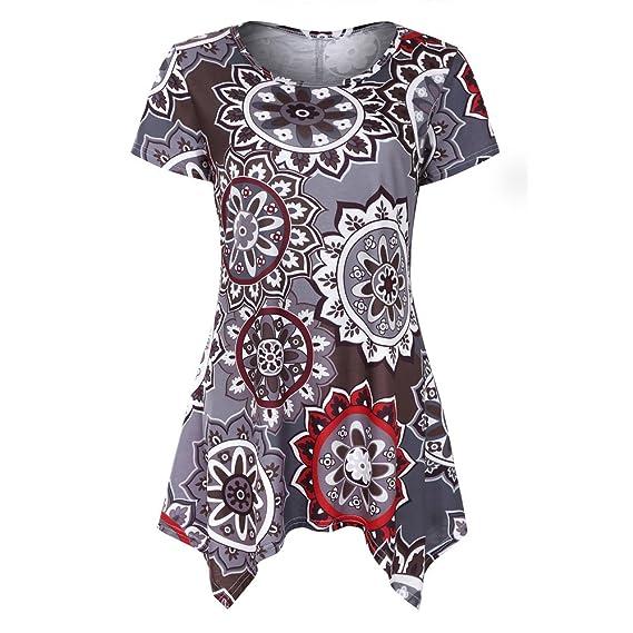 Levifun Camiseta de la Ropa Tops para Mujer, Estampado de Flores Oscilación Sexy Verano Casual