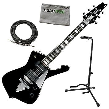 Ibanez psm10bk Paul Stanley firma Mikro guitarra eléctrica 22,2 En escala negro w/gamuza de geartree, cable, y soporte: Amazon.es: Instrumentos musicales