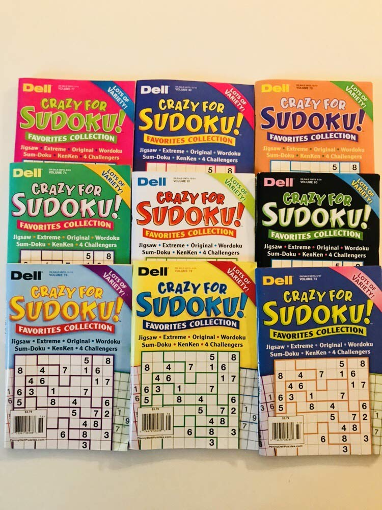 Lot of 9 CRAZY FOR SUDOKU FAVORITES COLLECTION from the Dell Penny Press Puzzles Volume numbers 73, 74, 75, 76,77, 78, 80, 81, and 82 by Penny Dell