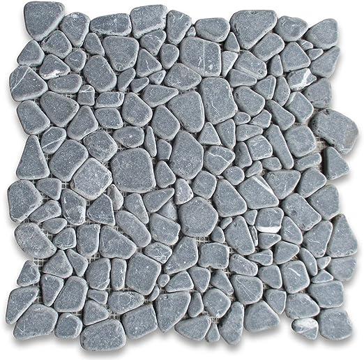 Stone Center Online Nero Marquina Black Marble Pebble Stone River Rocks Mosaic Tile Tumbled For Kitchen Backsplash Bathroom Flooring Shower Surround Dining Room Entryway Corrido Spa 1 Sheet