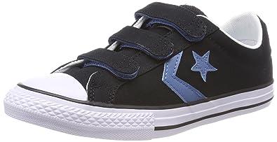 Converse Unisex-Kinder Star Player 3V OX Black/Aegean Storm Sneaker, Schwarz (Black/Aegean Storm/White 001), 31 EU