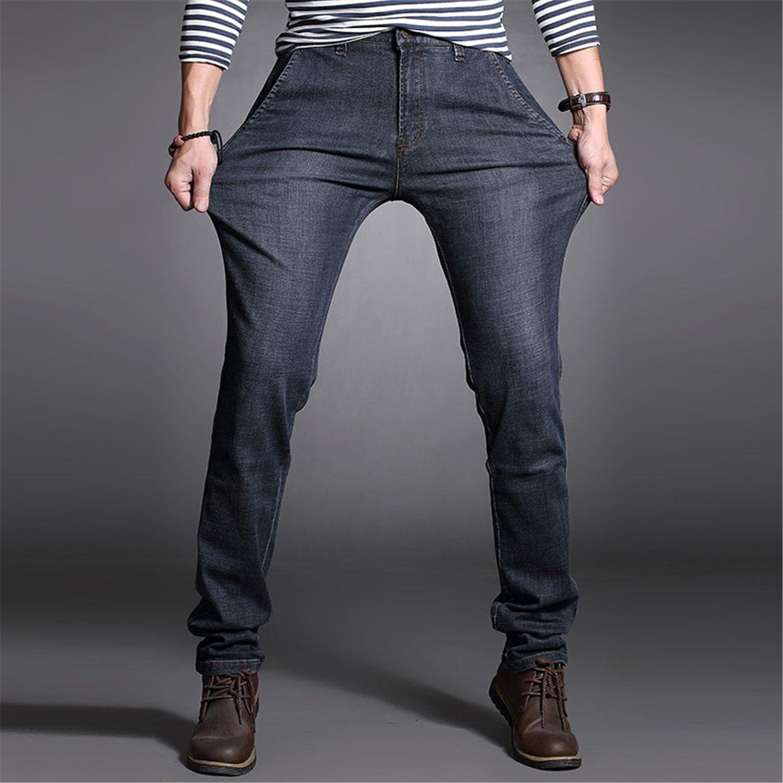 Richard Nguyen Size 30-42 Mens Stretch Jeans Casual Cotton Male Denim Pants Classic Straight Jeans Men Quality Long Trousers