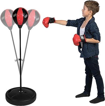 COSMOLINO Punching ball para niños – Box Set Niños – Equipo de deporte para niños – con guantes de boxeo – Altura ajustable