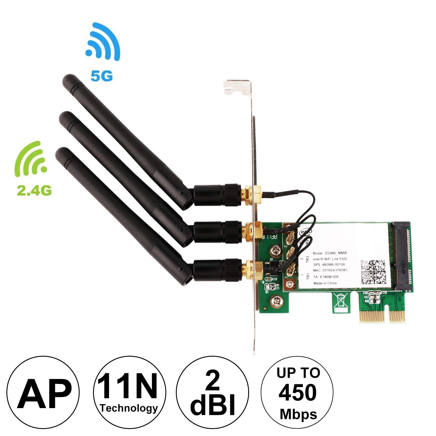 Ubit WIE5300 Wireless 450M Dual Band PCI Express (PCIe) Wi-Fi Adapter Network Card with 2dBi WiFi External Detachable Antenna for Desktop Computers(with AP Function)