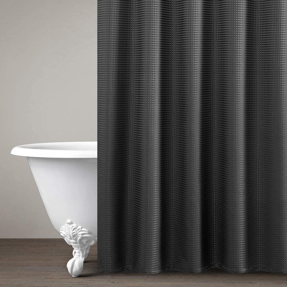 Black Shower Curtain Metal Grommets Top For Bathroom Waterproof Waffle Weave Textured With Rust Resistant Metal Grommets Top Shower Curtains Shower Drapes 1 Panel 72 Inches Long Kitchen Dining
