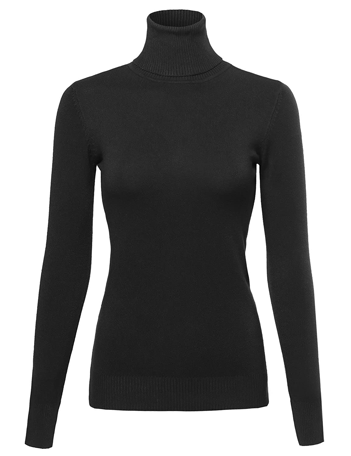 Made by Emma Women's Basic Slim Fit Lightweight Ribbed Turtleneck ...