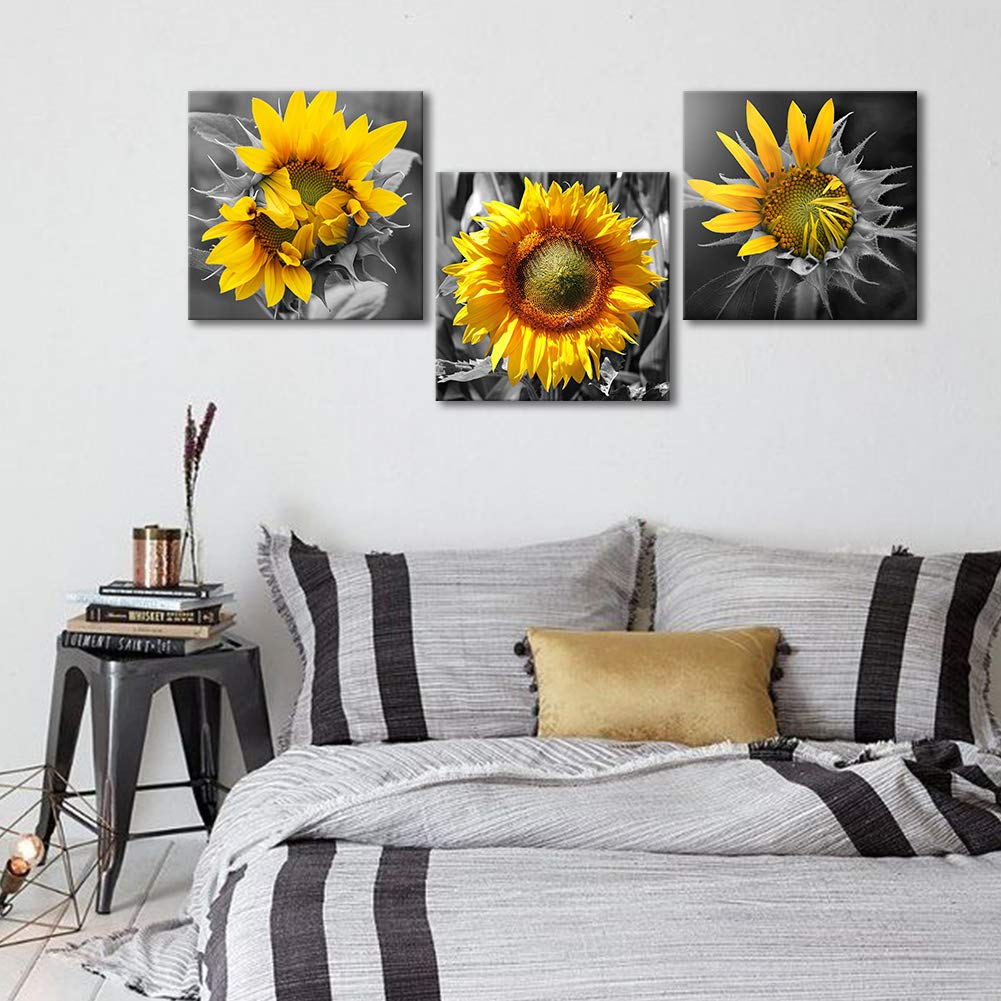 Fine Bedroom Wall Decor Modern Sunflower Decor For Bedroom Bathroom Kithen Wall Decor Black And White Yellow Canvas Art Wall Decoration For Office 3 Piece Download Free Architecture Designs Lukepmadebymaigaardcom
