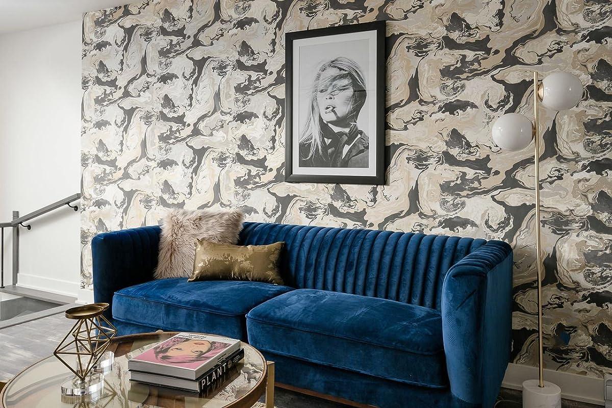 Edloe Finch FOXLEY Blue Velvet Sofa - Midcentury Modern Sofa for Living Room - Channel Tufted