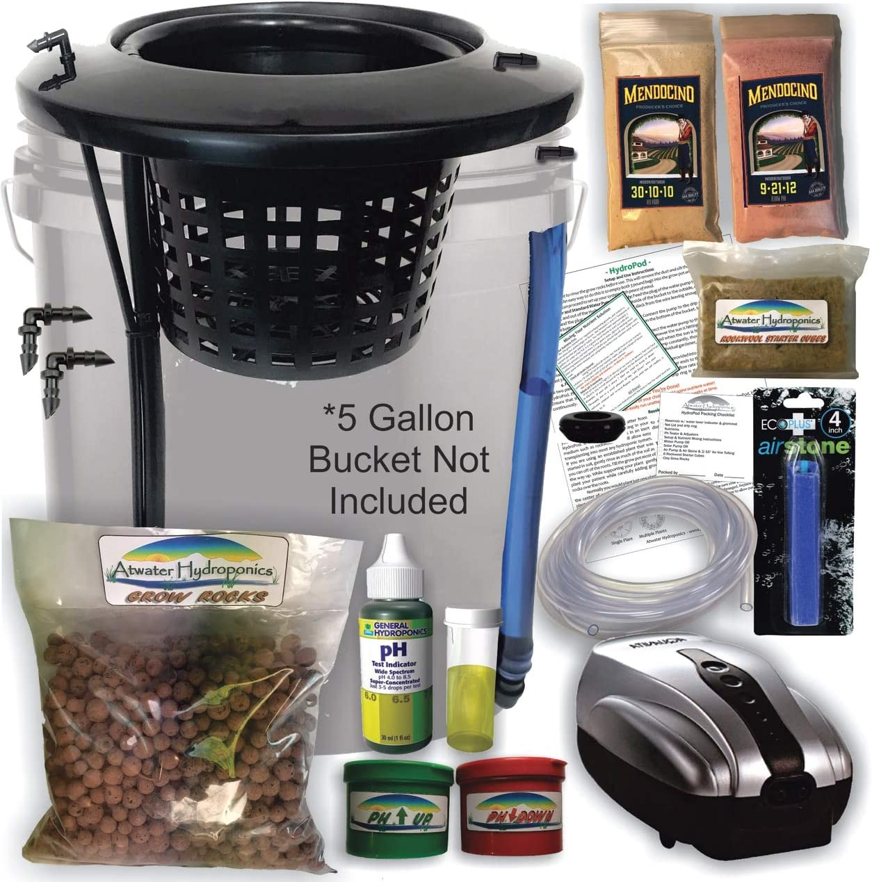 The Atwater HydroPod – DIY Add Your Own Bucket KIT – Dual DWC Deep Water Culture Recirculating Drip Hydroponic Garden System – Bubble Bucket – Grow Your Own Start Today Bucket Not Included Save