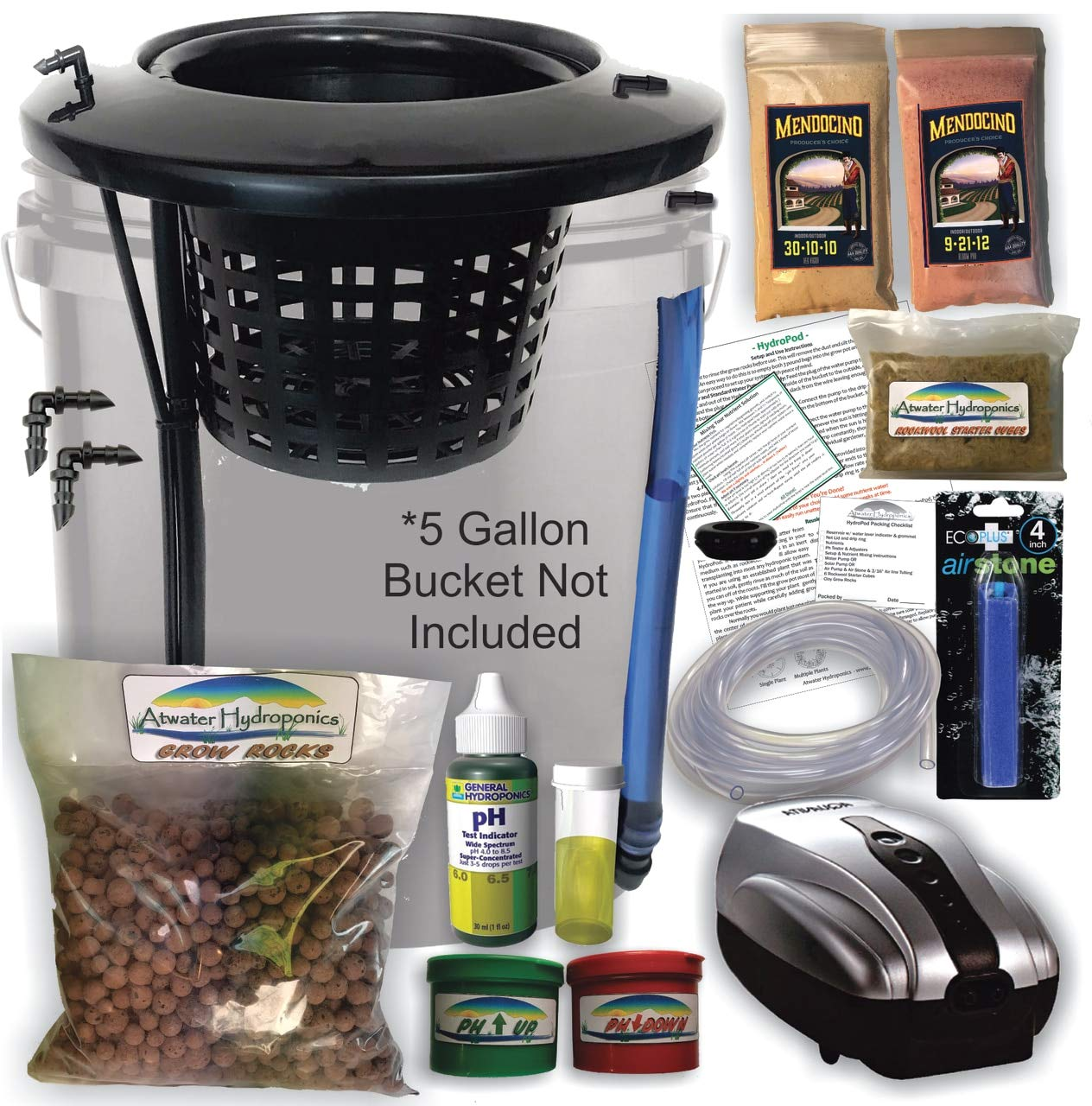 The Atwater HydroPod - DIY Add Your Own Bucket KIT - Dual DWC Deep Water Culture/Recirculating Drip Hydroponic Garden System - Bubble Bucket - Grow Your Own! Start Today!Bucket Not Included Save $$ by Atwater Hydroponics