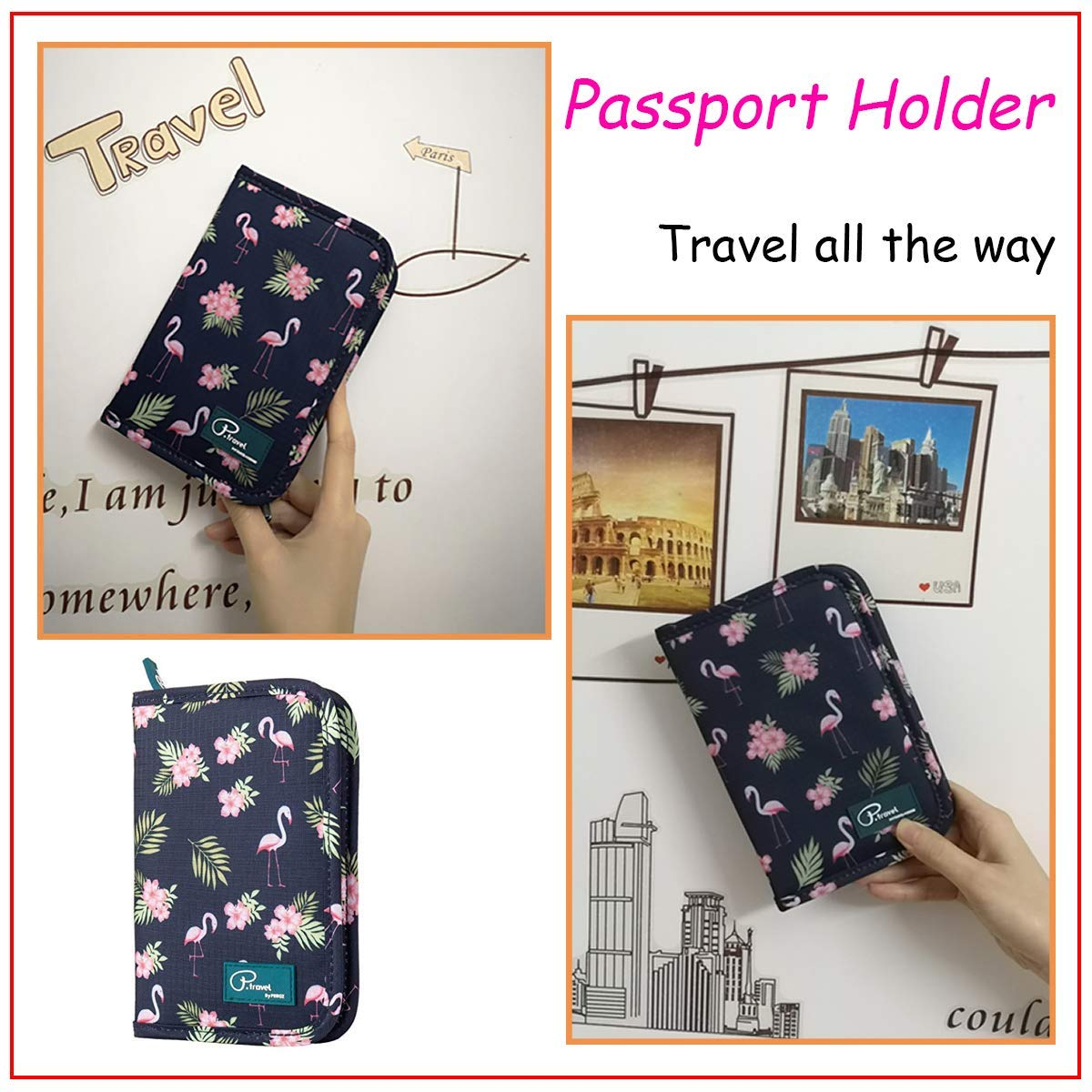 Flamingo SQSM Passport Wallet Holder for Men/&Women,RFID Blocking Travel Waterproof Credit Card/&Money Bag Multifunctional,Travel Wallet Passport Organiser Case with Zipper
