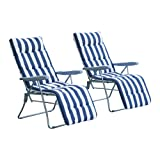 Outsunny Set of 2 Garden Patio Outdoor Sun Recliners Loungers Folding Foldable Multi Position Relaxers Chairs with Cushions Fire Retardant Sponge (Blue White)