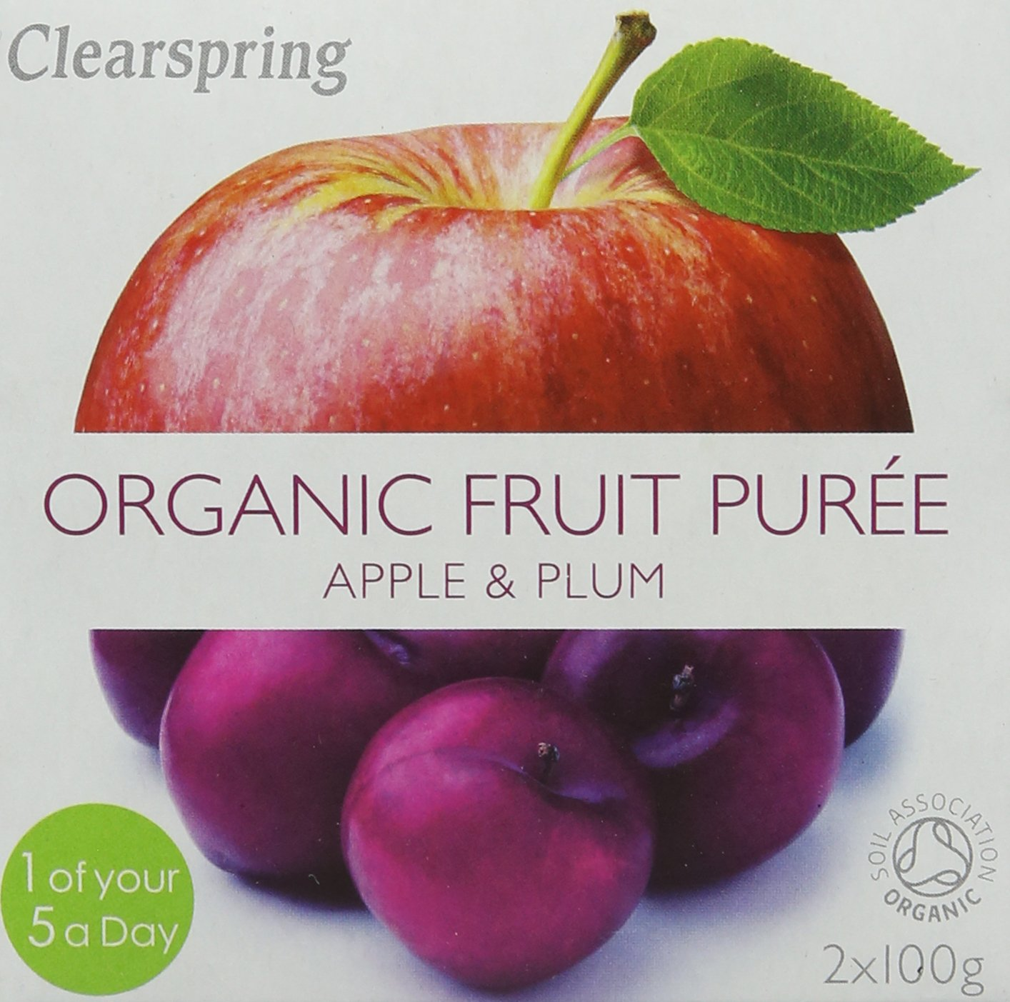 Clearspring Organic Apple and Plum Fruit Puree 2x100g (Pack of 12) Clearspring Ltd 82110