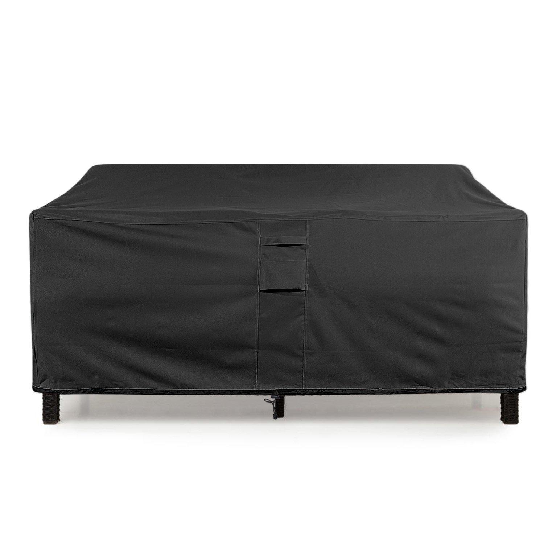 "KHOMO GEAR GER-1081 Waterproof Heavy Duty Outdoor Lounge Loveseat Sofa Patio Cover, XL (104'' x 32.5''x 33""), Black"