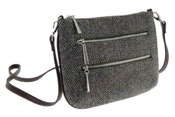 3828964abd2e Ladies 100% Wool Harris Tweed Purple Herringbone Shoulder Bag Col 7 ...