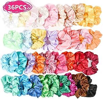 BUYGOO Scrunchies de Satén para Cabello 36 Colores Scrunchies Tela Lazos para el Cabello Gomas del Pelo Elasticas Cuerdas Scrunchie para Mujeres Niñas: Amazon.es: Electrónica