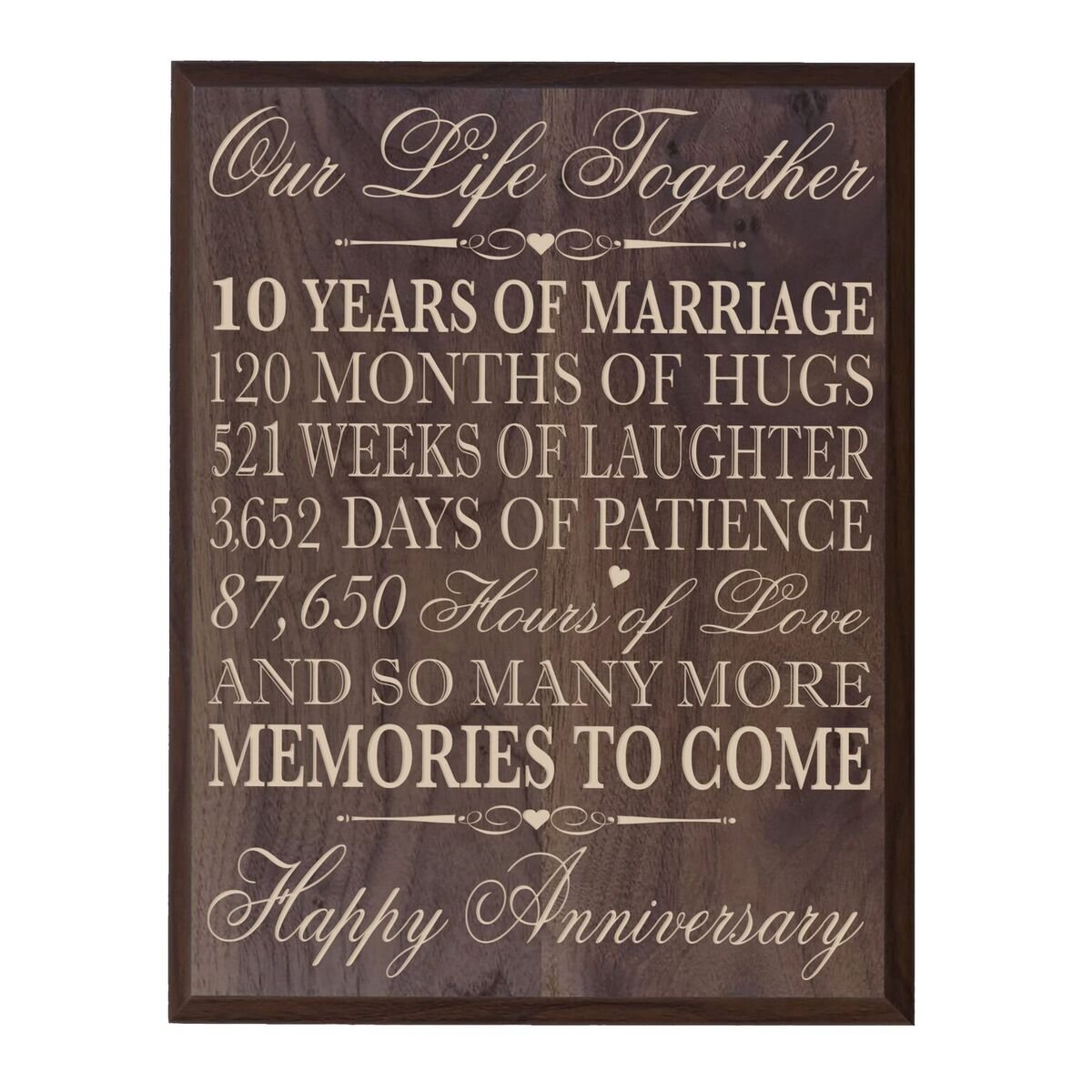 LifeSong Milestones 10th Wedding Anniversary Wall Plaque Gifts for Couple, 10th for Her,10th Wedding for Him 10.75'' W X 13'' H Wall Plaque (Grand Walnut) by LifeSong Milestones (Image #1)