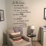 In This House We Love Wall Decals Family Rules English Sayings Vinyl Wall Decal Decor (Medium,White)
