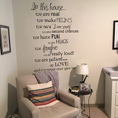 In This House We Love Wall Decals Family Rules English Sayings Vinyl Wall  Decal Decor (