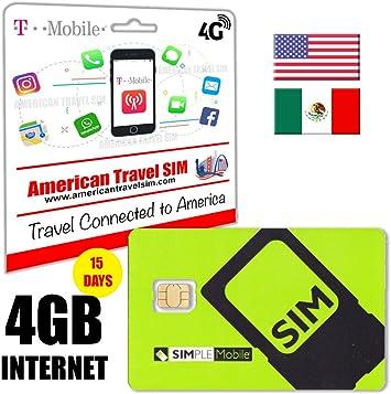 Tarjeta SIM Prepago con 4GB de INTERNET y 4G / LTE de velocidad, llamadas ilimitadas en EE.UU. y Méjico + Textos Internacionales ilimitados: Amazon.es: Electrónica