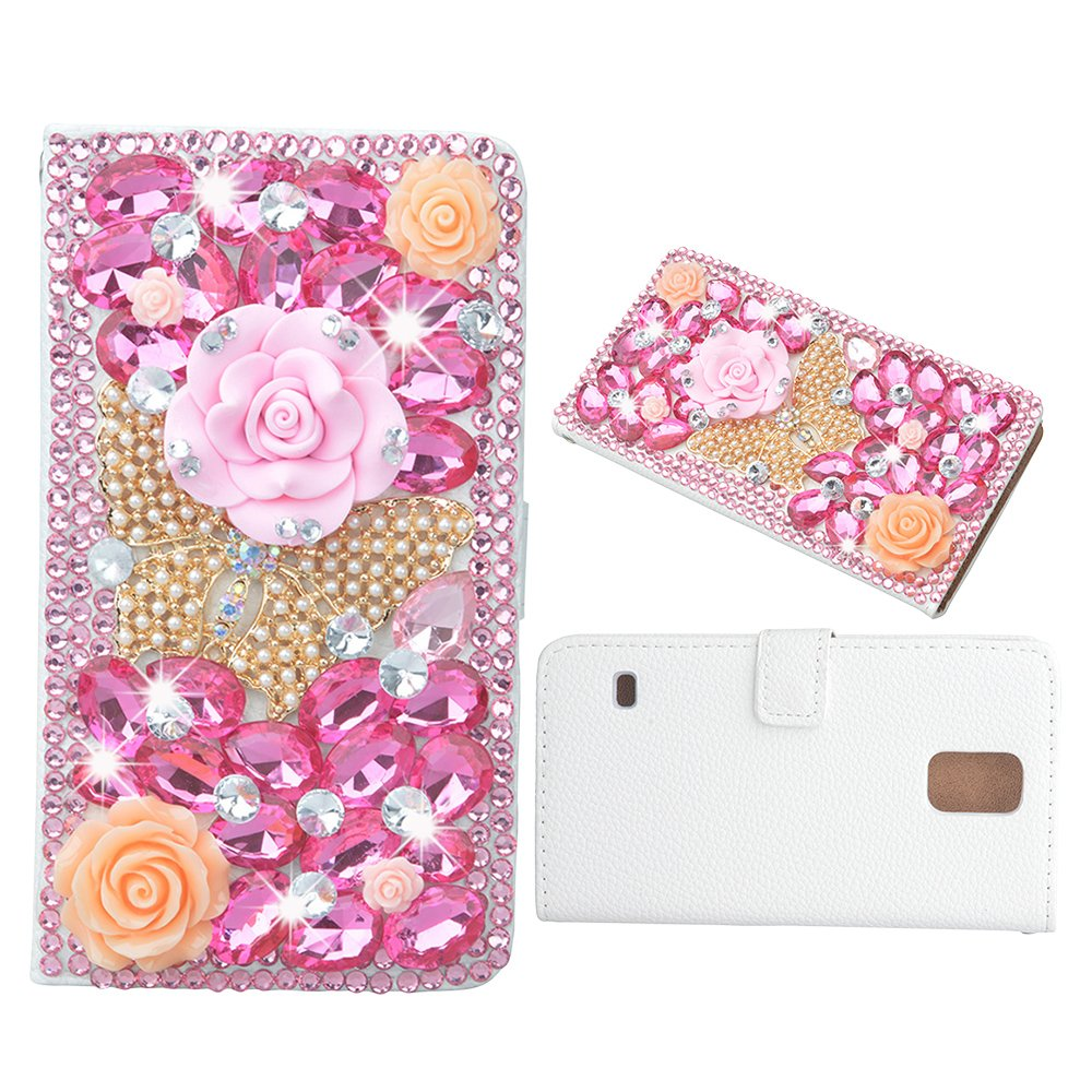 Evtech(tm) Butterfly Flowers Rhinestone Bling Crystal Glitter Book Style Folio PU Leather Wallet Case with Handbag Phone Holder & Card Slots for Samsung Galaxy Note 3