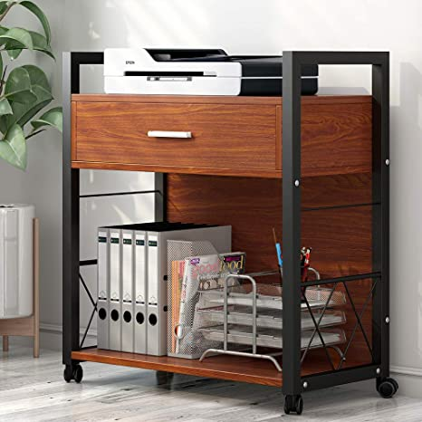 Tribesigns Mobile Printer Stand with 4 Rolling Wheels and Storage Drawer, Modern Lateral File Cabinets Printer Cart Machine Stand for Home Office, ...
