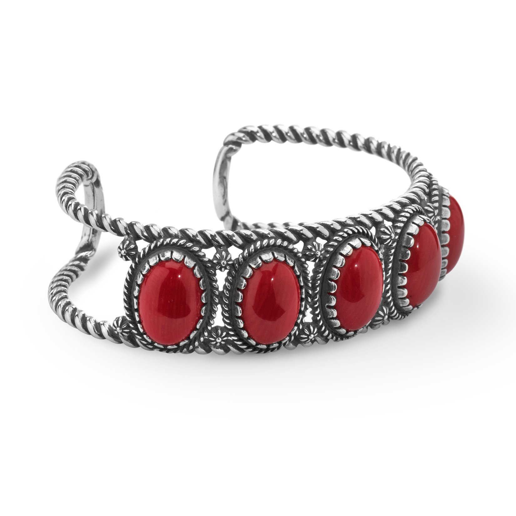 Classics Collection Sterling Silver Red Coral Cuff Bracelet