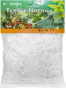 "HDONG Trellis Netting 5 x 15ft, Trellis for Climbing Plants, Garden Heavy-Duty Polyester Plant Trellis Netting, Garden Mesh Netting for Blueberry Bushes,Cucumber. (6"" Mesh)"