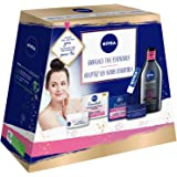 Nivea Face Care Essentials Gift Set, Day & Night Cream for Daily Routine, Micellar Water Makeup Remover and Lip Balm for Beau