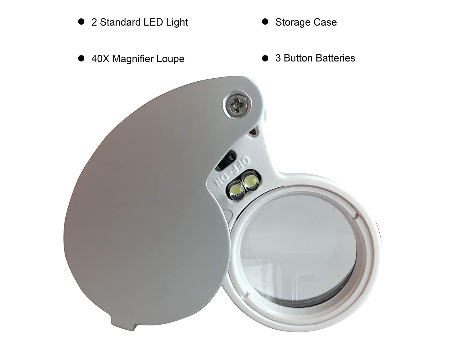 Rocks Silver//White 40X LED Illuminated Jewelers Loupe//Trichome Scope by Sticky Thumbs Pocket Folding Magnifier Loop Good for Jewelry Minerals Antiques and Plants Cleaning Cloth