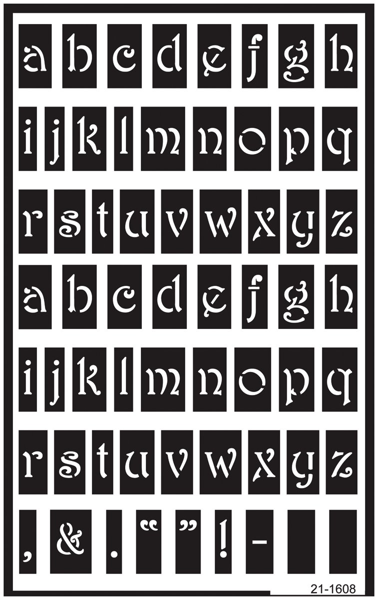 Armour Etch 21-1608 Over N Over Stencil Lower Case ARMOUR PRODUCTS