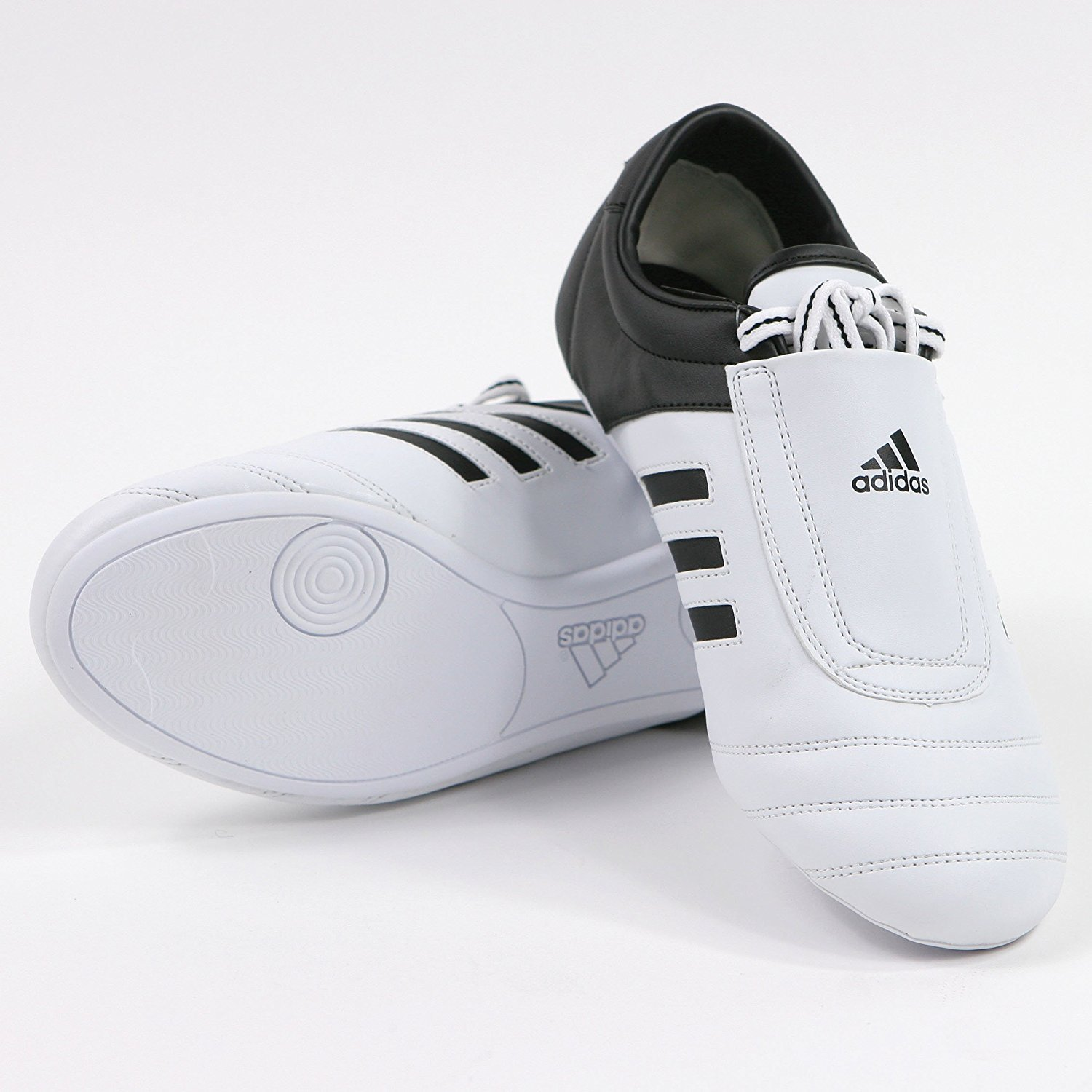 adidas® KICK Shoes Martial Arts Sneaker White with Black Stripes (9) by adidas