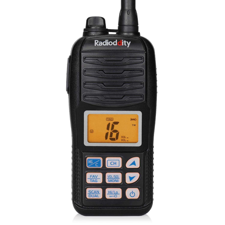 Radioddity Voyage RV6 VHF Marine Radio Handheld Floating Tri-Watch, IP67 Waterproof, NOAA Weather Alert, Emergency Strobe LED by Radioddity