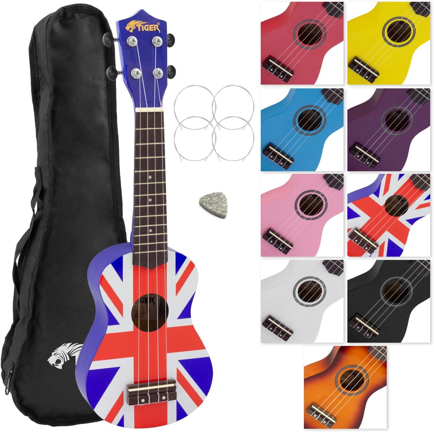 Tiger UKE10-UK - Ukelele soprano para principiantes con funda, diseño de bandera británica: Amazon.es: Instrumentos musicales