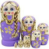 Winterworm Cute Little Girl With Big Braid Handmade Matryoshka Wishing Dolls Russian Nesting Dolls Set 7 Pieces Wooden Kids Gifts Toy Home Decoration Purple