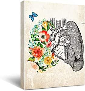 """HIjie Anatomy Lungs Canvas Wall Art for Doctor Office Decor, Social Worker Graduation Gift, Occupational Therapist Gift, Psychological Doctor Gift, Rehabilitation Gift Size 11.5"""" X 15"""""""