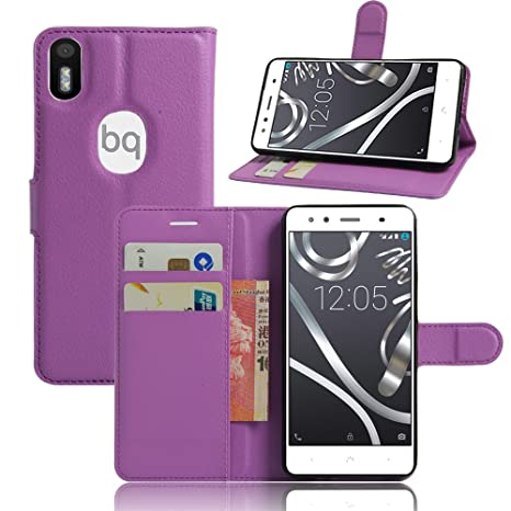 BQ Aquaris X5 Plus Funda de PU Cuero Leather con Ranuras ...