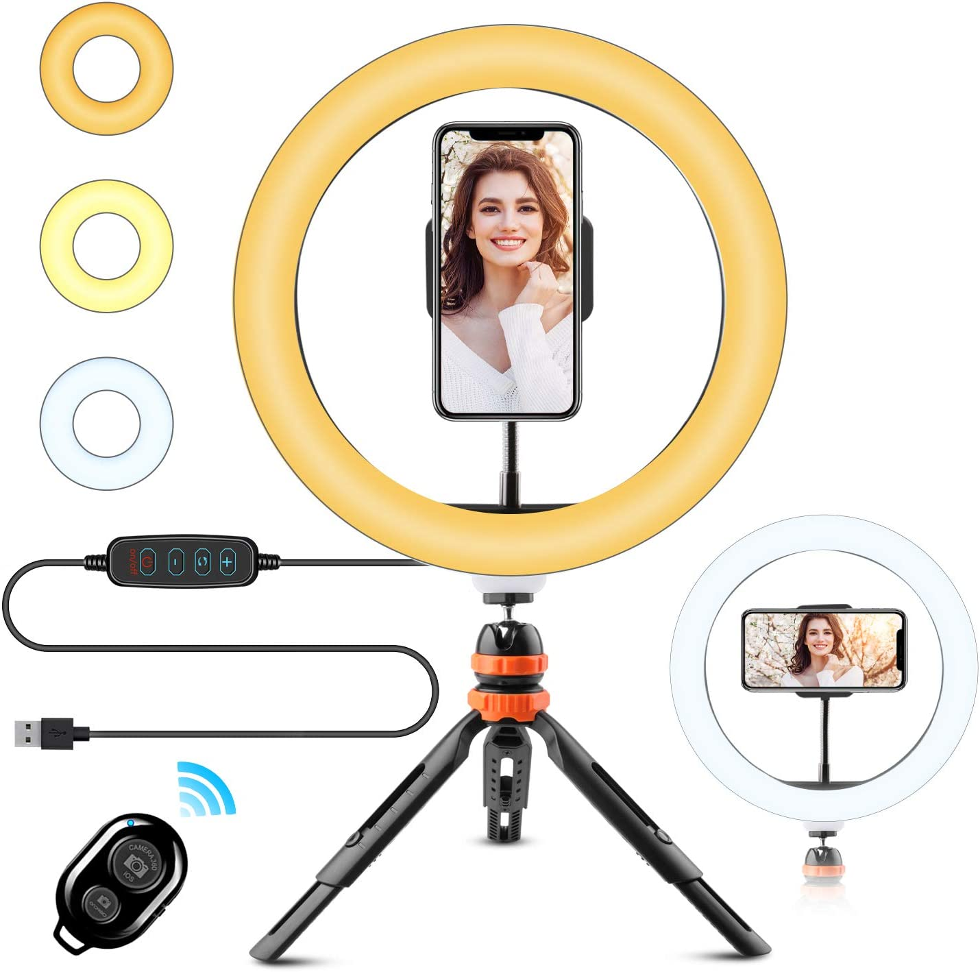 """WOWGO 10"""" Ring Light with Tripod Stand & Phone Holder, 3 Lighting Modes and 11 Brightness Levels, for Live Streaming, YouTube, Makeup, Video Shooting, Vlog, Selfie (Remote Control for iPhone Android)"""