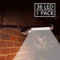 Solar Lights Outdoor,36 LED New Generation Bright Solar Security Lights Outdoor Motion Sensor with Rotatable Installed Stents,Outside Waterproof Garden Wall Lights (1 Pack)